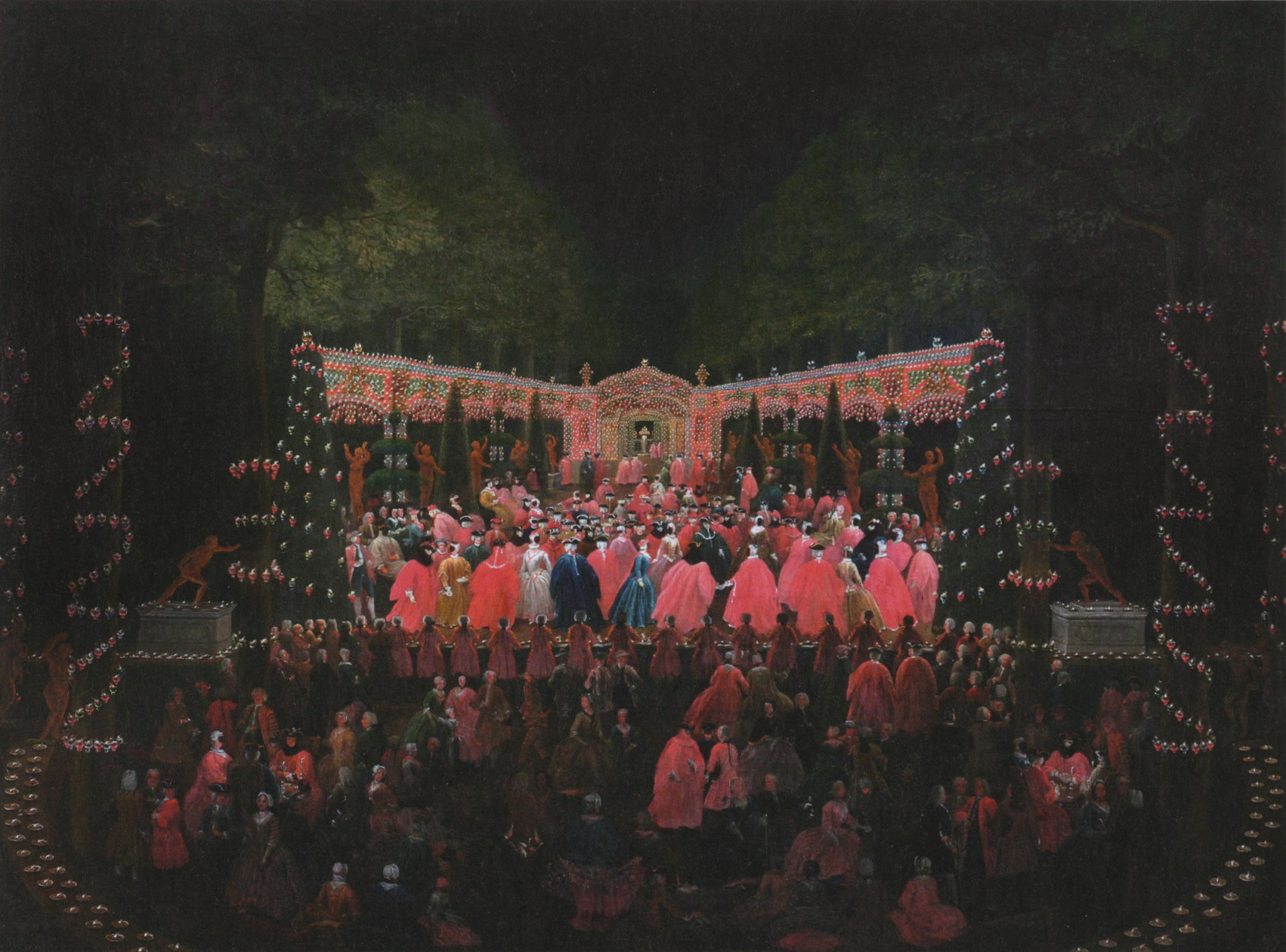franz luders_masked ball in the festively lit hedge theatre at schloss herrenhausen_1740