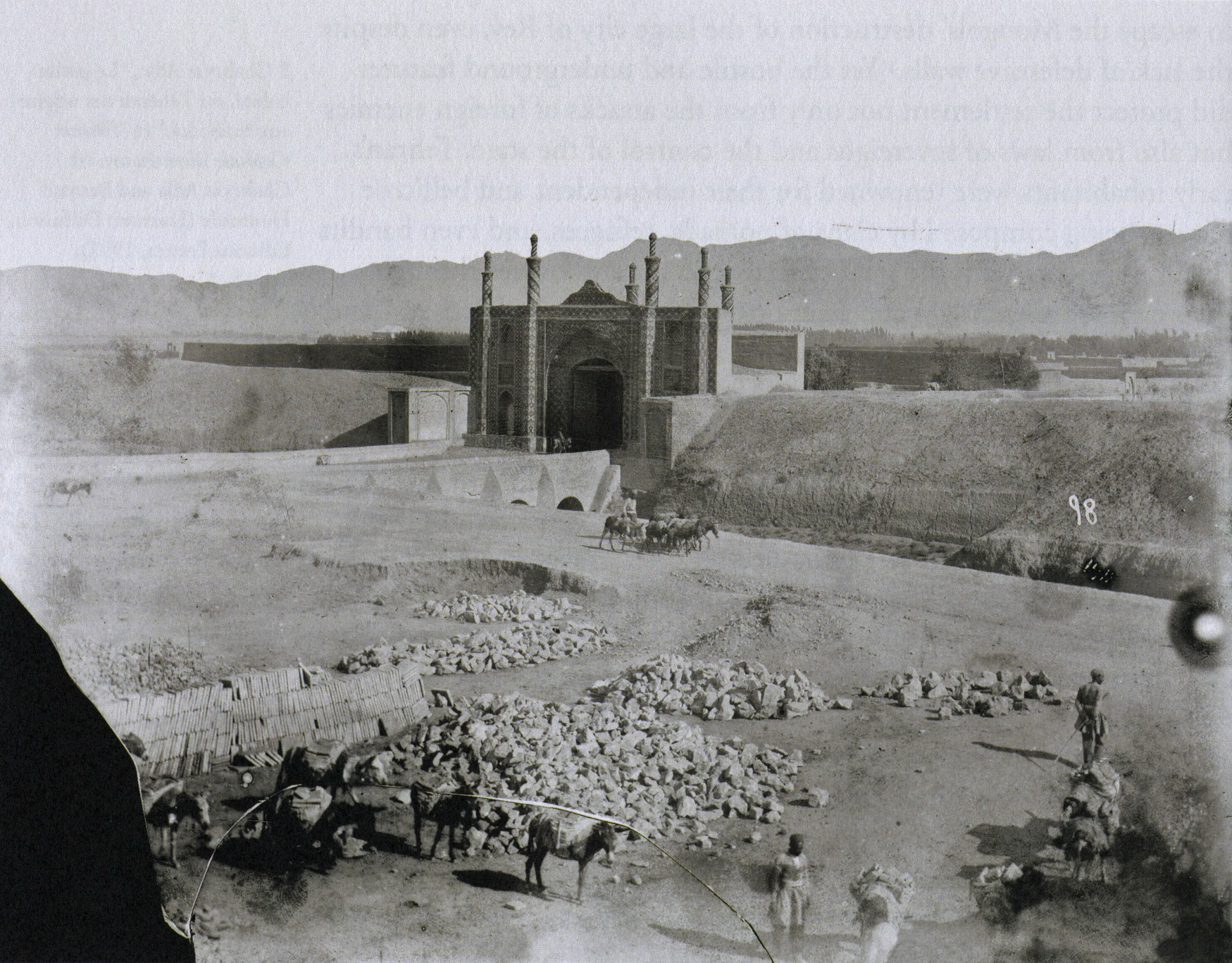 antoin sevruguin_dowlat gate, ne city gate, with alborz mountains, 1880-1930_p66
